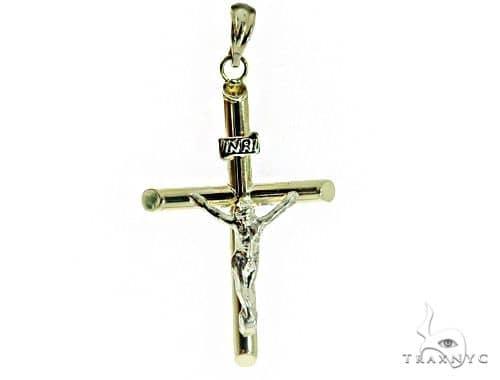 10K Two Tone Jesus Cross Pendant 56819 Gold