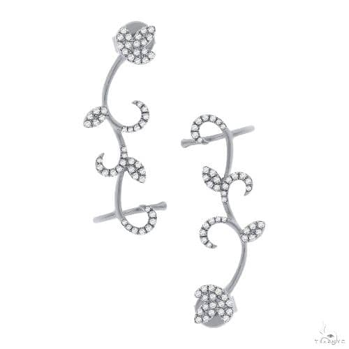 14k White Gold Diamond Leaf Ear Crawler Earrings Stone