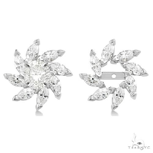 Marquise Earring Jackets in 14k White Gold Stone