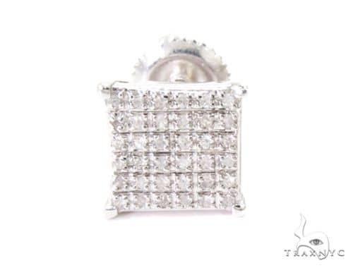 Square Silver Diamond Single Earring 45598 Metal