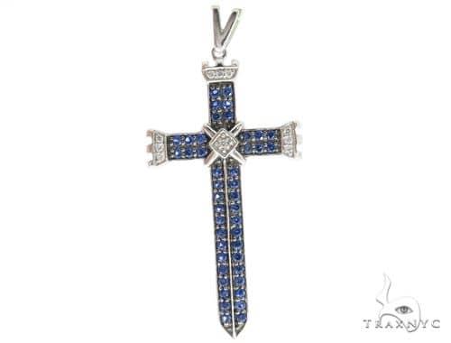 Blue Sapphire Diamond Cross 45604 Gemstone Crosses