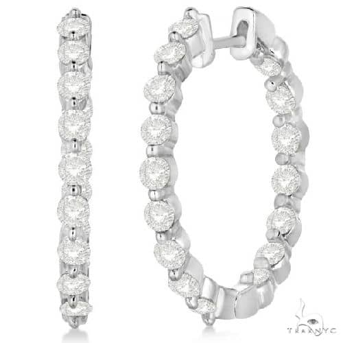 Inside Out Diamond Hoop Earrings Prong Set in 14k White Gold Stone