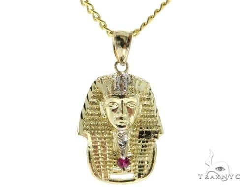 10K YG Small Pharaoh Pendant Cuban Chain Set 56883 Metal