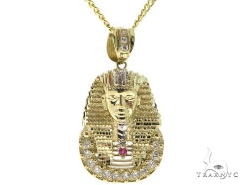 10K YG Pharaoh Pendant Cuban Chain Set 56887 Metal