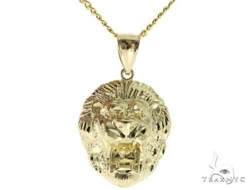 10K YG Lion Head Pendant Cuban Chain Set 56888 Metal