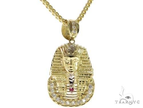 10K YG Pharaoh Pendant Franco Chain Set 56889 Metal