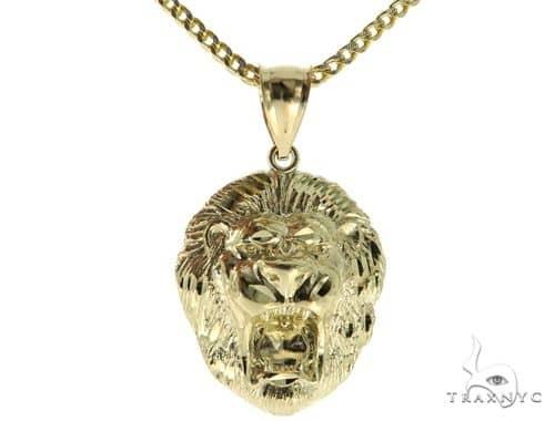 10K YG Lion Head Pendant Franco Chain Set 56890 Metal