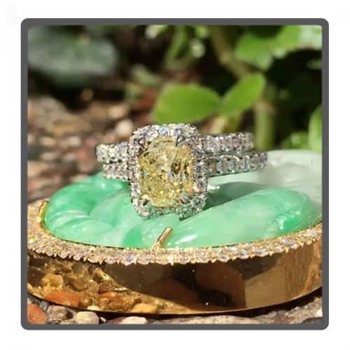 Cushion Cut Halo Diamond Engagement Ring Set 45619 Engagement
