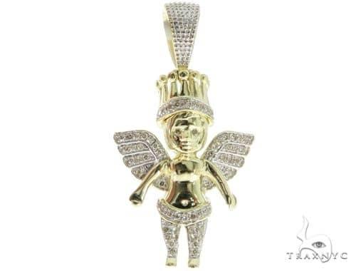 Prong Diamond Small Crown Angel Pendant 56913 Metal