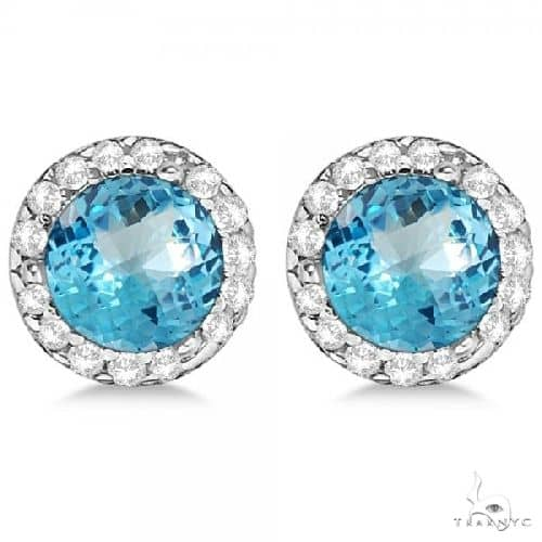 Diamond and Blue Topaz Earrings Halo 14K White Gold Stone