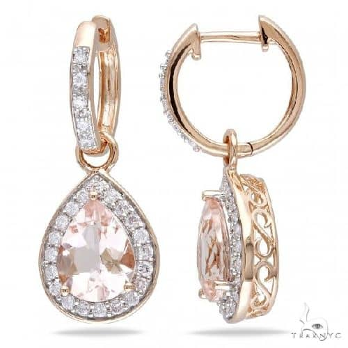 Diamond and Pear Shaped Morganite Drop Earrings 14k Rose Gold (3.30ct) Stone