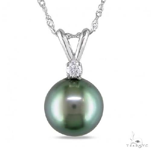 Solitaire Diamond and Tahitian Pearl Pendant Necklace 14k White Gold 8-9mm Stone