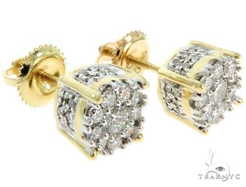 14K YG Prong Diamond Cluster Earrings 57047 Stone