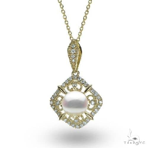 Antique Style Pearl and Diamond Pendant Necklace 14k Yellow Gold Stone