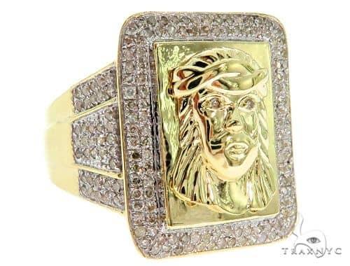 Micro Pave Diamond Jesus Ring 57061 Stone
