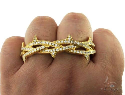 Custom Crown of Thorns Two Finger Ring 57053 Stone