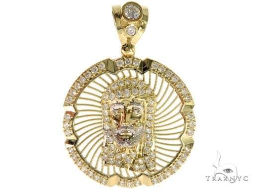 Jesus Head Medallion Gold Pendant Metal