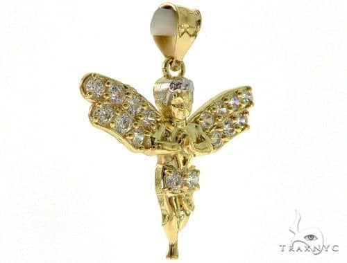 10K Gold Angel Pendant and Chain Set 43213 Metal
