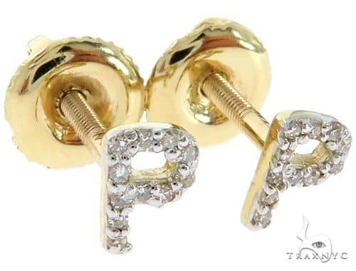 Prong Diamond Initial \'P\' Earrings 57144 Stone