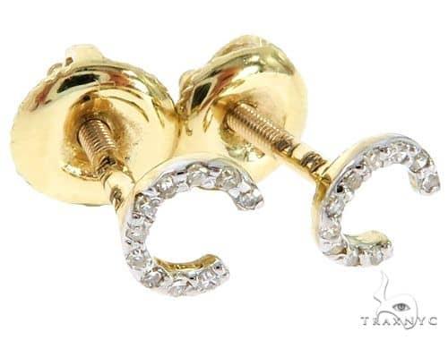 Prong Diamond Initial \'C\' Earrings 57145 Stone