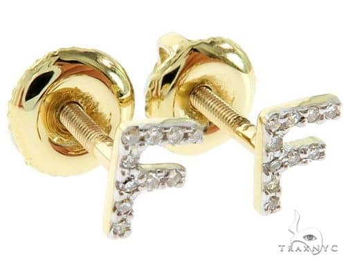 Prong Diamond Initial 'F' Earrings 57150 Stone
