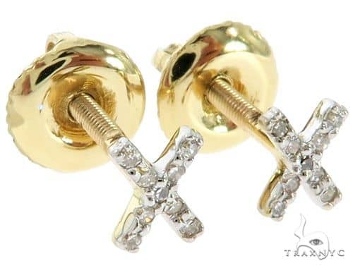 Prong Diamond Initial 'X' Earrings 57151 Stone