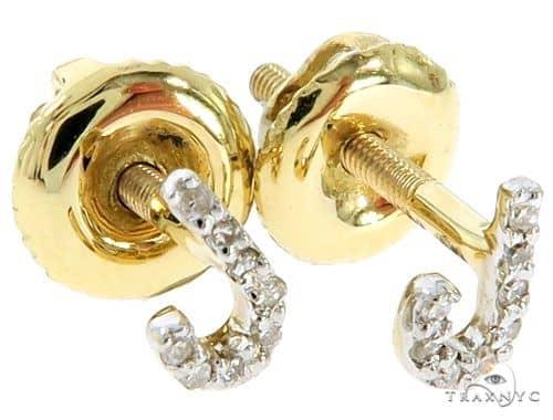 Prong Diamond Initial \'J\' Earrings 57157 Stone