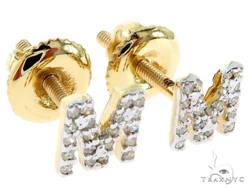 Prong Diamond Initial \'M\' Earrings 57160 Stone