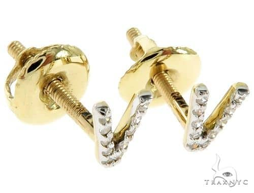 Prong Diamond Initial 'V' Earrings 57163 Stone