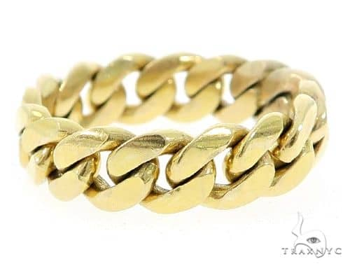 14k Yellow Gold Miami Cuban Link Ring 43375 Metal
