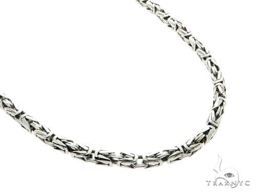 14K White Gold Byzantine Link Chain 24 Inches 4mm 55 Grams 57175 Gold