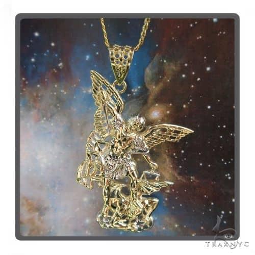 10K Gold Saint Michael Pendant Set 49006 Metal