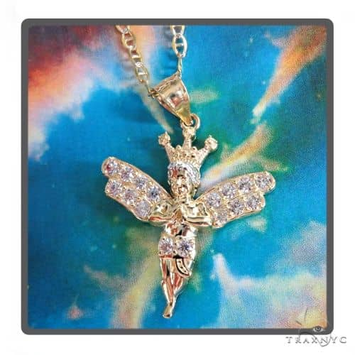 10K Gold Crowned Angel Pendant Set 49007 Style