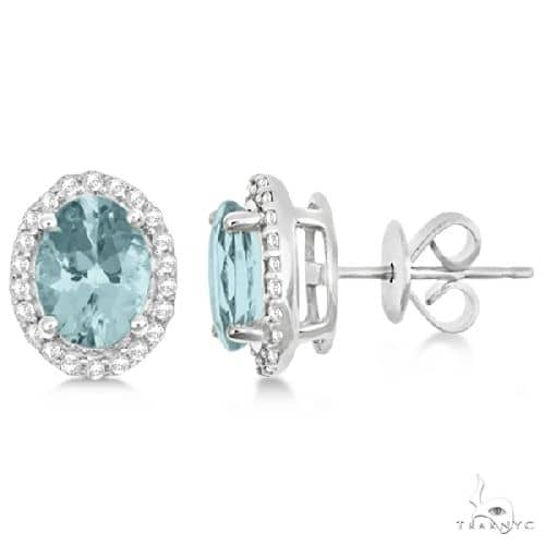 Oval Aquamarine and Diamond Halo Stud Earrings Sterling Silver Stone