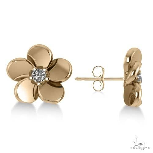 Diamond Flower Blossom Stud Earrings 14k Yellow Gold Stone