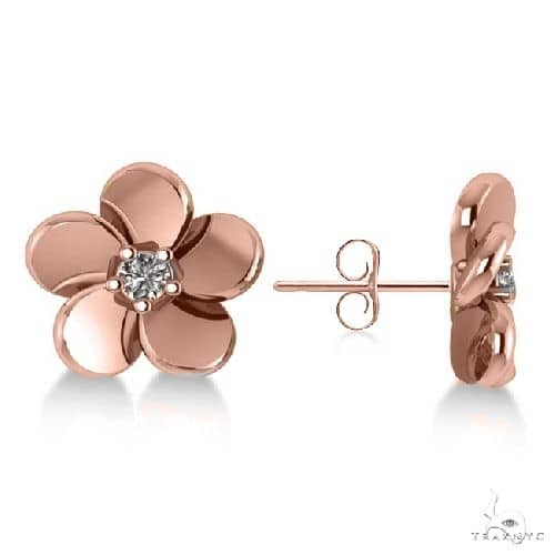 Diamond Flower Blossom Stud Earrings 14k Rose Gold Stone