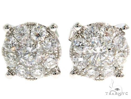 14K White Gold Prong Diamond Cluster Earrings 57219 Stone