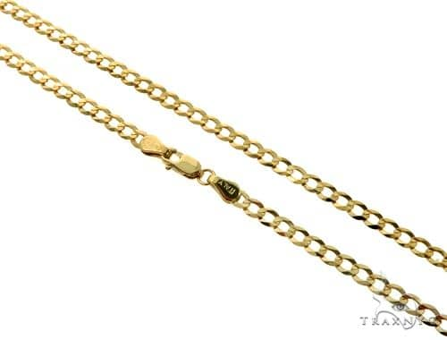 10KY Cuban Curb Link Chain 30 Inches 3.5mm 7.5 Grams 57247 Gold
