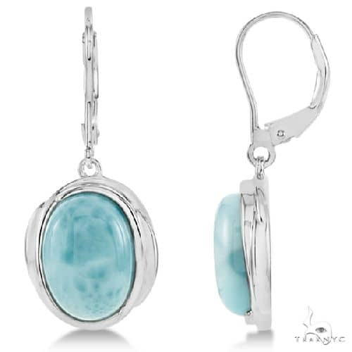 Oval Larimar Gemstone Lever Back Earrings Sterling Silver Stone