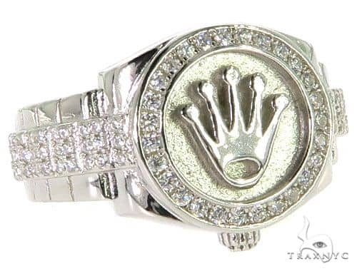 CZ Silver Watch Ring 57264 Metal