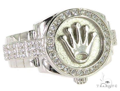 CZ Silver Watch Ring 57264 Metal