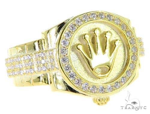 CZ Silver Watch Ring 57265 Metal