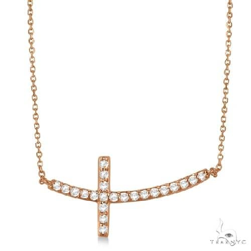 Diamond Sideways Curved Cross Pendant Necklace 14k Rose Gold Stone