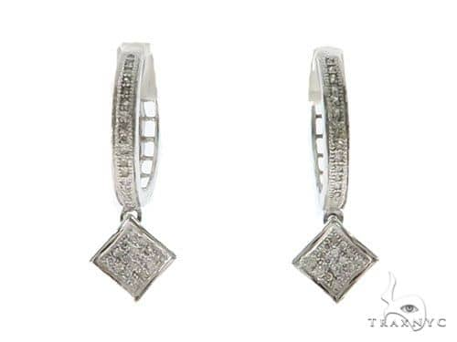 14KW Dimaond Hoop Earrings 57309 Stone