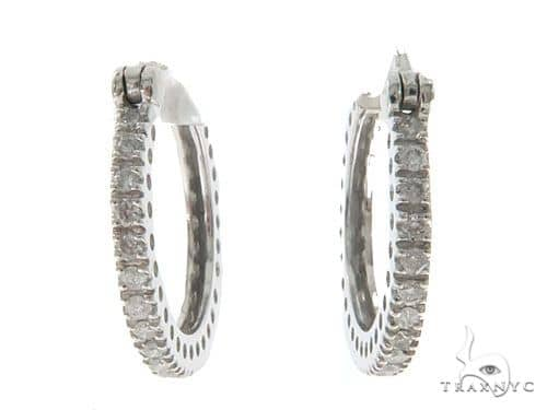 14KW Prong Diamond Hoop Earrings 57312 Stone
