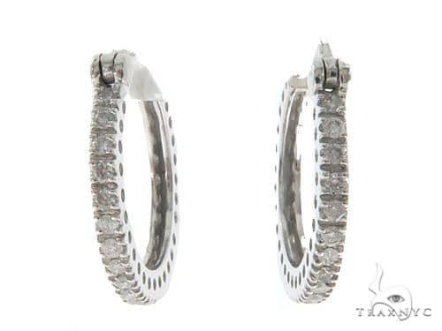 14KW Prong Diamond Hoop Earrings 57312 Stone