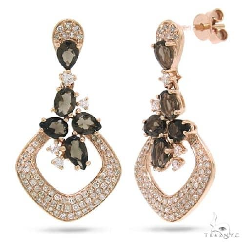 0.53ct Diamond and 1.50ct Smokey Topaz 14k Rose Gold Earrings Stone