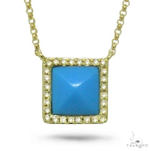 0.09ct Diamond and 0.73ct Composite Turquoise 14k Yellow Gold Necklace Gemstone