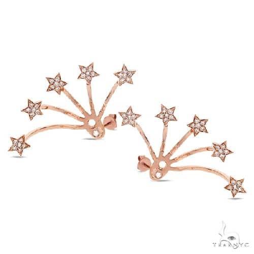 14k Rose Gold Diamond Star Ear Jacket Earrings With Studs Stone