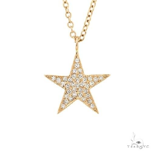 14k Yellow Gold Diamond Star Pendant Necklace Stone